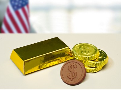 chocolate coins and gold bar
