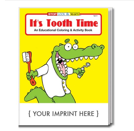 a dental related coloring book with an alligator on the cover