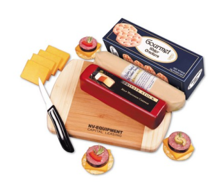 meats, cheese and crackers with a bamboo cutting board and knife