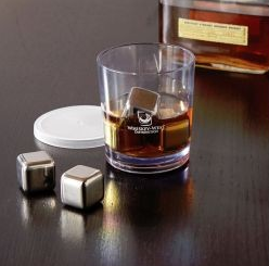 a drink with stainless steel ice cubes