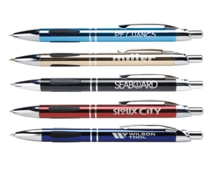 custom business pens in various colors