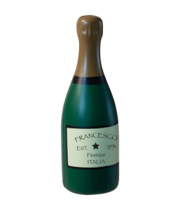 A green champagne bottle stress toy