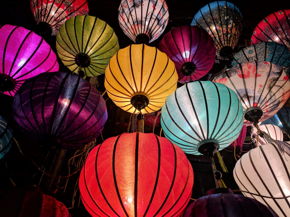 Chinese lanterns in various colors and patterns