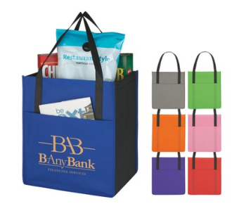 Custom tote bags with a front pocket in various colors