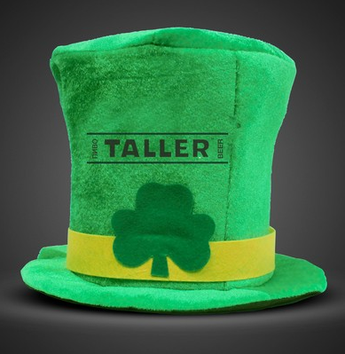 green st patrick's day leprechaun hat with clover