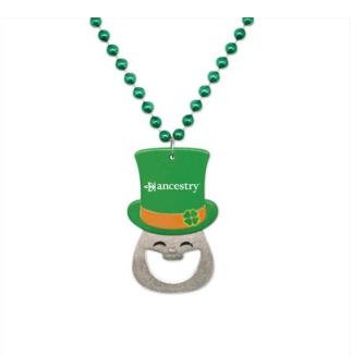 beaded leprechaun bottle opener necklace