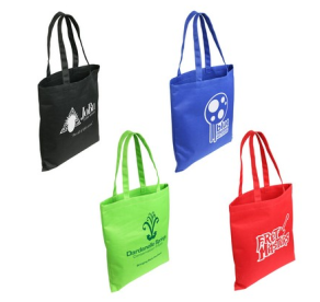 reusable tote bags in multiple colors