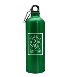 green aluminum sport bottle with logo